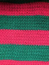 Roseanne Crochet Hand Made Granny Blanket Red Green HUGE 82 x 63 Striped