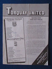 Torquay United v Birmingham City - Friendly Programme - 20/1/82 - 4 pager
