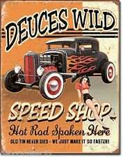 HOT ROD Metal Signs DEUCES WILD Hotrod Garage Signs Vintage Retro Tin Signs 1688