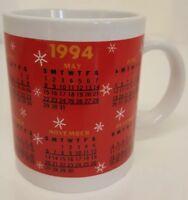 1994 Calendar COFFEE MUG Red Gift Birth Year Graduation Vintage Anniversary Cup