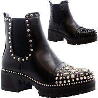 Ladies Studded Chelsea Ankle Boots Womens Chunky Platform Heels Goth Punk Shoes