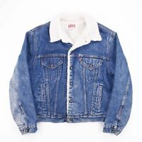 Vintage LEVI'S Made In USA Blue Faux Sherpa Lined Denim Jacket Mens Size Large