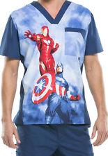 Cherokee Tooniforms Medical Scrubs Captain America vs Iron Man Top Sz Small NWT