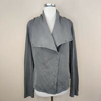 Anthropologie Saturday Sunday Cotton Knit Jacket Snap Button L Large Gray