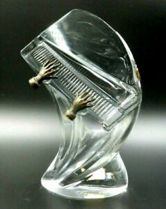 """VINARDI LEAD CRYSTAL """"PIANO WITH BRONZE HANDS"""" SIGNED ART SCULPTURE #452 OF 7500"""