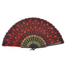 Red Embroidered Flower Pattern Black Cloth Folding Hand Fan Fancy Dress Gif X3K4
