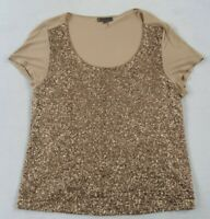 Jeans by Buffalo Women's S/S Scoop Neck Tan & Gold Sequin T Shirt Blouse - XL