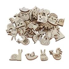 50 Pieces Unfinished Wood Wooden Shapes Cutouts for Arts Crafts Scrapbooking