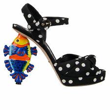 DOLCE & GABBANA Fish Polka Dot Plateau Sandals Pumps Heels Black White 07477