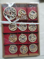 ENESCO Flourish Box Set Wood 12 Days of Christmas Ornaments Christmas (c3)