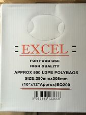 """10""""x 12"""" EXCEL CLEAR PLASTIC LDPE POLY BAGS 200 GAUGES (500x FOOD & GROCERY BAGS"""