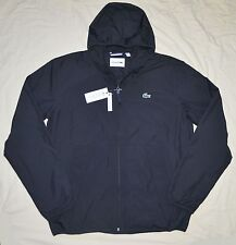 New 52 Large L Lacoste Men's light weight windbreaker Jacket sprint coat black