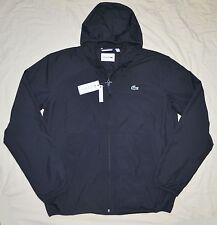 New 52 Large L Lacoste Men's light weight windbreaker Jacket sprint coat black