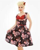 Lindy Bop Ophelia Dress Black Dusk Floral Size 8 With Belt