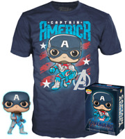 Captain America Glow GITD Endgame Funko Pop! Vinyl + T-shirt New in Box