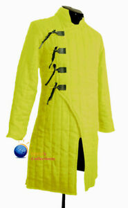 Medieval Thick Padded Full Sleeves Yellow  Jacket Gambeson Costume