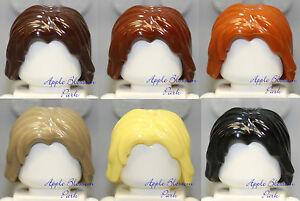 LEGO Lot/6 Long Tousled MINIFIG HAIR Boy Girl Tan Orange Brown Yellow Blonde Set