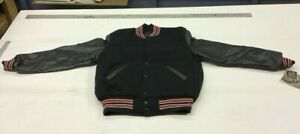"Classic ""Holloway"" Varsity Jacket Blacky/Black/red-white trim  NEW made in USA"
