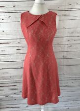 tahari arthur s. levine Women's 6  Lace dress Sleeveless Orange A-line
