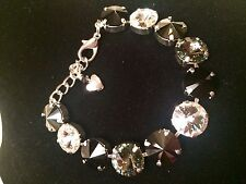 Swarovski Crystal Elements Clear & Black Shades Bracelet 12mm Silver Cup Chain