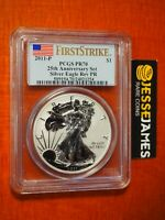2011 P REVERSE PROOF SILVER EAGLE PCGS PR70 FLAG FIRST STRIKE FROM 25TH ANN SET