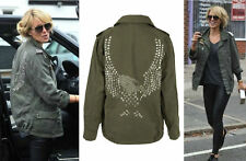 Topshop Eagle Studded Army Military Parka Jacket Size Uk4 Eur32 Us0 Petite