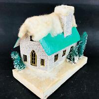 "Vtg lg White & Green Putz House 7""W Christmas House Decoration japan cottage"