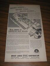 1948 Print Ad Great Lakes Steel Quonset 20 Farm Building Detroit,MI