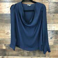 Vince Women's Navy Georgette Cowl Neck 100% Silk Long Sleeve Blouse Size 4