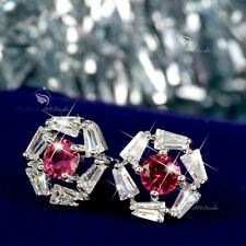 18k white gold filled made with RED CLEAR SWAROVSKI crystal CZ earrings stud