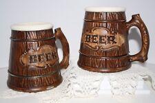 PAIR VINTAGE TREASURE CRAFT USA CERAMIC EMBOSSED WOOD LOOK BEER BARREL MUGS
