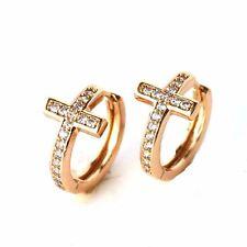 18k Yellow Gold Filled Earrings Charm 19mm Cross Hoop CZ GF Fashion Jewelry Gift