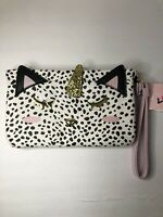 Luv Betsey Johnson Pink White Cat Unicorn Wristlet Pouch Clutch Wallet Phone NEW