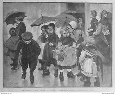 1889 MI 26/1 TABLEAU GEOFFROY UNE SORTIE DE CLASSE ENFANT PARAPLUIE PANIER OSIER