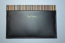 Paul Smith Mens Black Multi Stripe Trimmed Credit Card Holder NEW