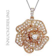 0.60ct F VS Diamond Rose Flower Pendant 18ct Rose Gold - Diamond Bale & Chain