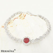"""65% Off Natural Round Cherry Ruby Chain 925 Sterling Silver Bracelet 7.25"""""""