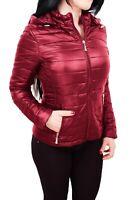 Giubbotto piumino donna rosso casual giacca giubbino 100 grammi con cappuccio