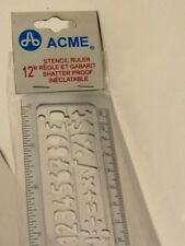 """ACME STENCIL RULER 12""""  Lettering Template  LETTER CLEAR PLASTIC VINTAGE NEW NIP"""