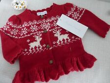 BNWT Ralph Lauren Girls Red White Winter Scene Cardigan age 3 months