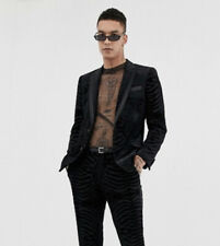 Asos men skinny tuxedo suit jacket in black tiger glitter velvet (chest 44)