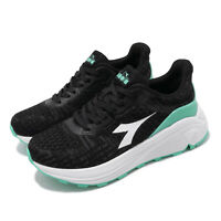 Diadora Black Green White Wide Womens Road Running Shoes Trainers DA31603