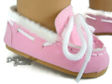 """Pink Moccasin Shoes Slippers made for 18"""" American Girl Doll Clothes"""