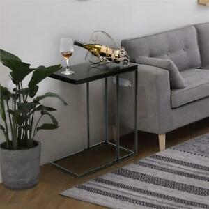 Sofa Side Table, Mobile C Shaped End Table Single Layer Snack Table Living Room