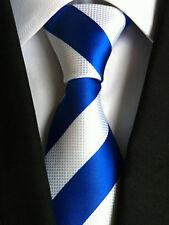 Classic Mens Necktie Fancy Silk White Blue Striped Ties Wedding Business XT-060