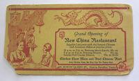 Vintage Advertising Blotter New China Restaurant 1930s Lancaster PA