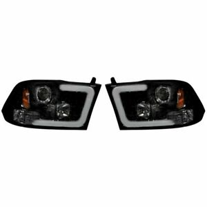 Recon Smoked Projector Headlights w/ OLED UBar For 2010-2018 Dodge Ram 2500/3500