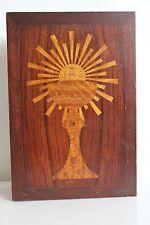 Superbe Boîte en Bois Marqueté HOSTIE EUCHARISTIE COMMUNION Collection religion