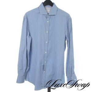 NWT Brunello Cucinelli Basic Fit Slate Blue Pinstripe Button Down Shirt XL NR