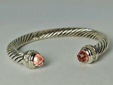 DAVID YURMAN STERLING SILVER 7MM Cable Classics Diamonds Morganite Bracelet. M